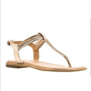 Lia Rose Gold Embellished Thong Sandal